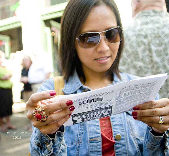My friend Iris checks her ticket, just to be sure.