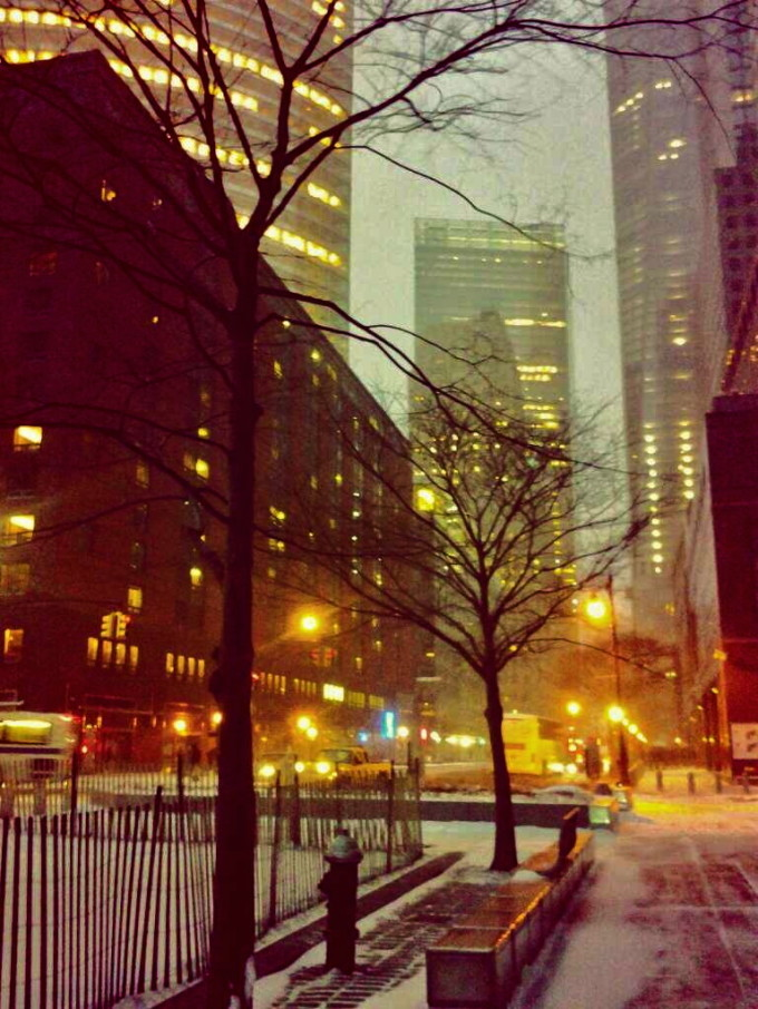 nyc battery park city snow