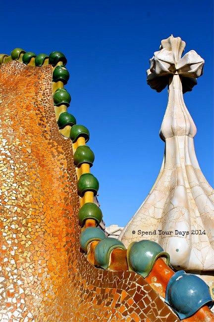 casa batllo rooftop barcelona spain gaudi