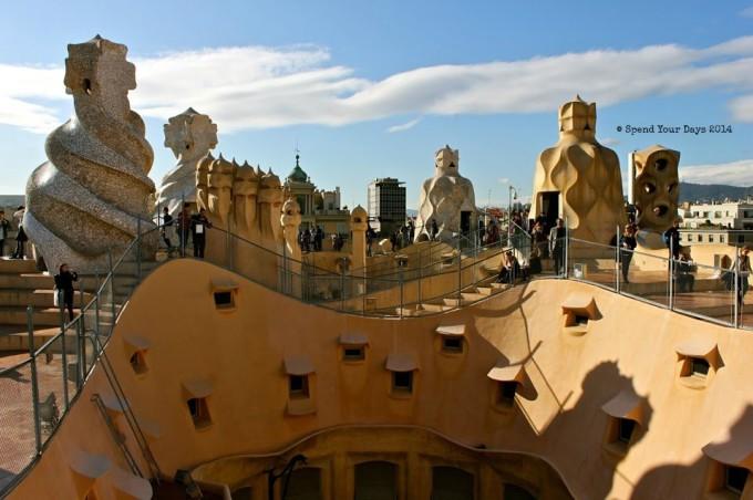 casa mila la pedrera barcelona spain rooftop