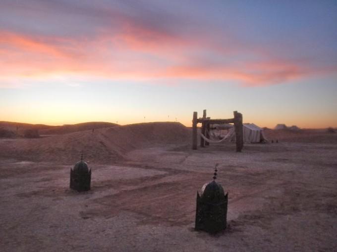 morocco sahara erg chigaga luxury desert camp sunrise